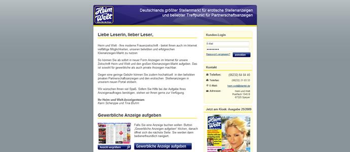 Screenshot der Heim und Welt Webseite