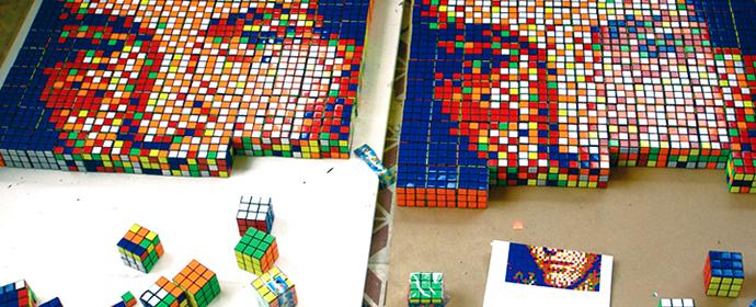 Space Invader?Äôs Rubik?Äôs Cube Art