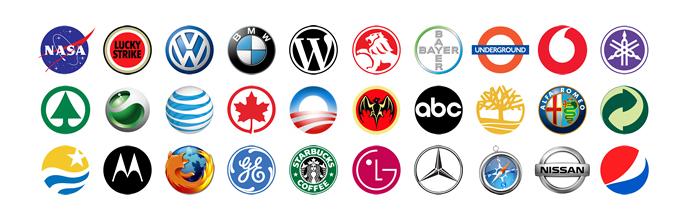 Viele runde und bekannte Logos