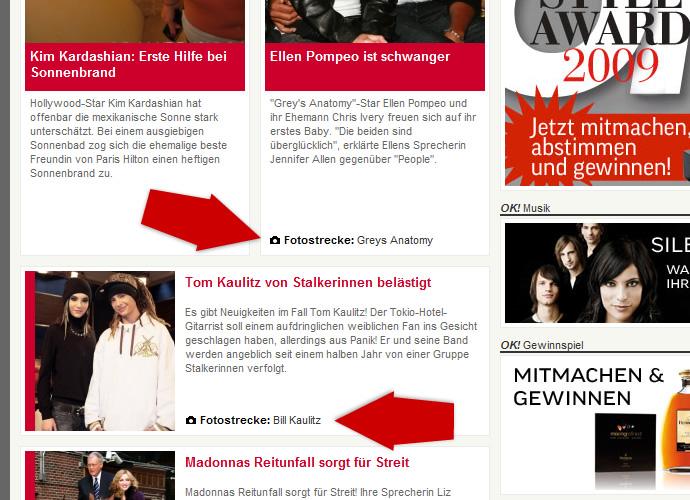 Screenshot Teaser-Fotostrecken OK! Deutschland