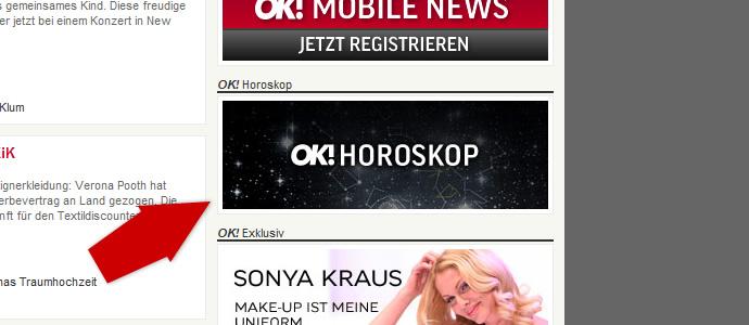Screenshot Teaser Horoskop OK! Deutschland