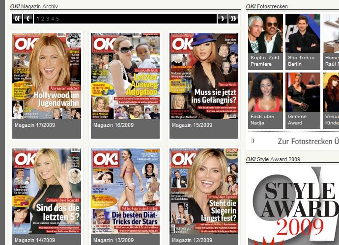 Screenshot Magazinübersicht OK! Deutschland